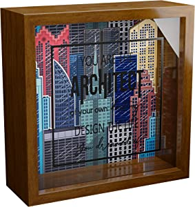 """Architect Gift   6x6x2"""" Memory Shadow Box   Glass Fronted Keepsake Box   Great Architecture Gifts for Women or Men   Cool Architectural Wall Decor   Ideal for Office Decor   Gift for Architect Stude"""
