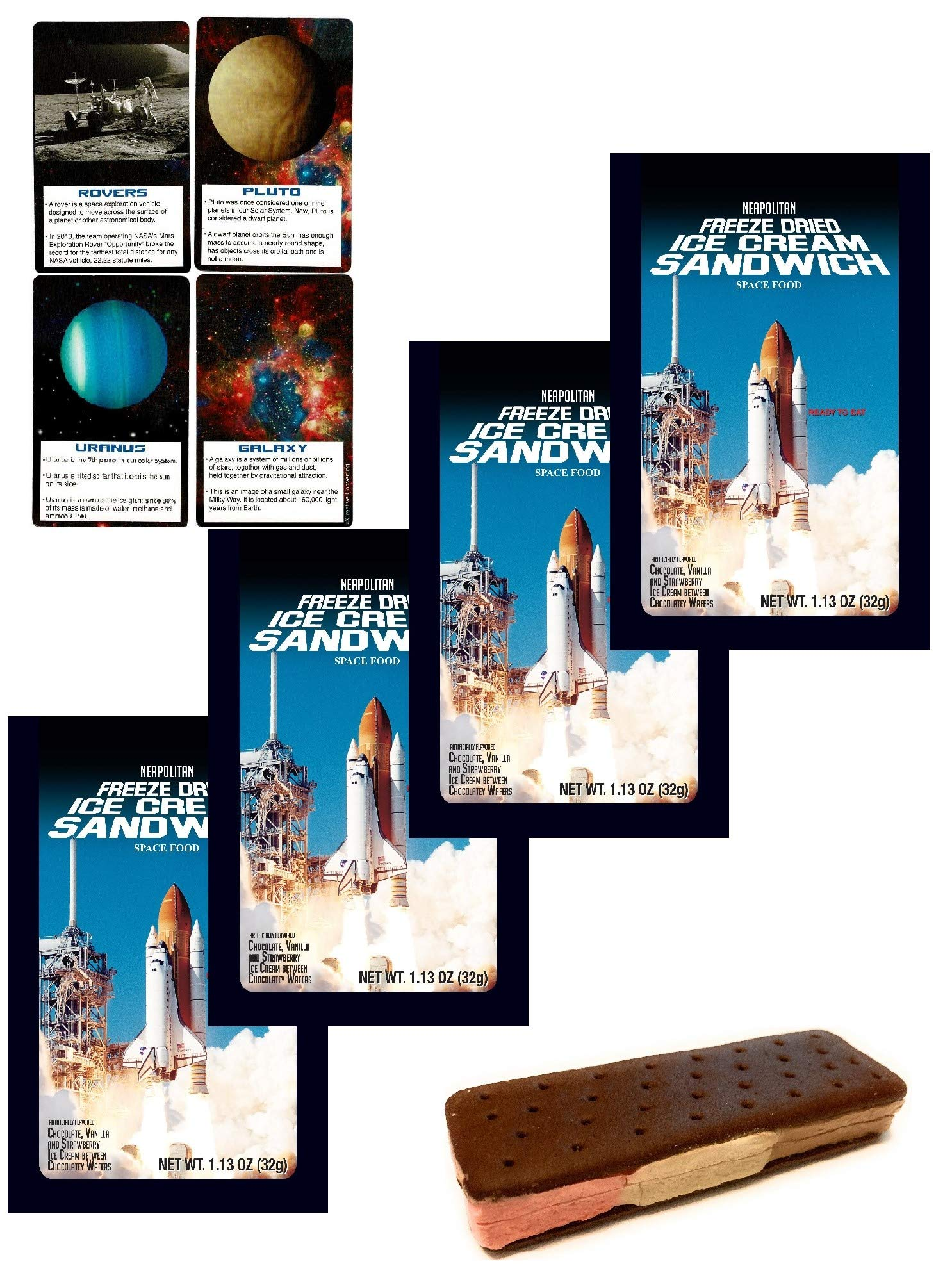Astronaut Ice Cream Freeze Dried Neapolitan Sandwich (Chocolate-Vanilla-Strawberry) Astronaut Food & Space Fact Card Party Bundle - 4 Pack