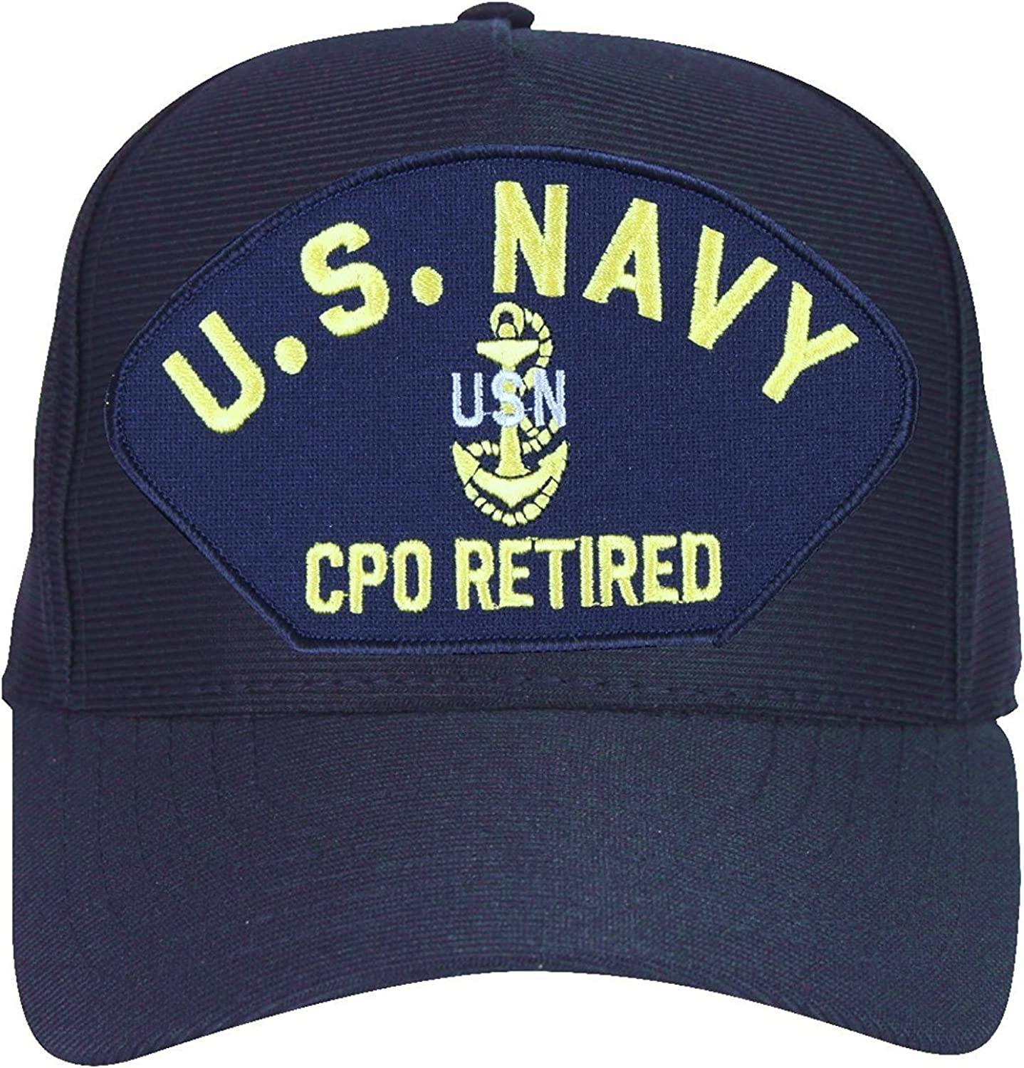 Made in USA U.S Navy Blue Navy CPO Retired with Anchor Baseball Cap