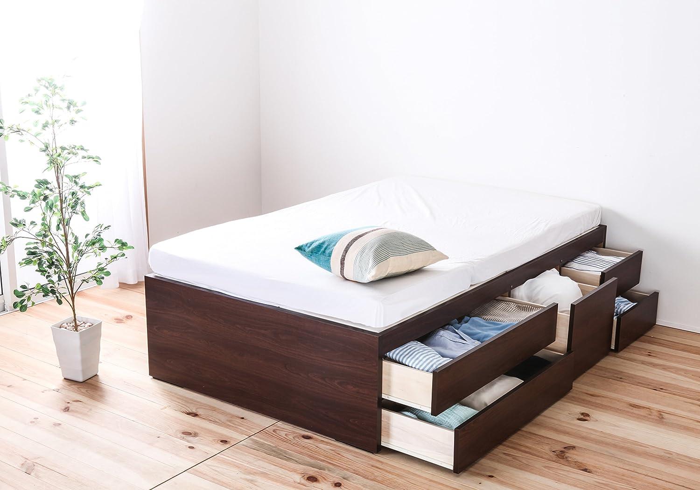 源ベッド 収納ベッド 日本製フレーム 五杯収納 ヘッドレス
