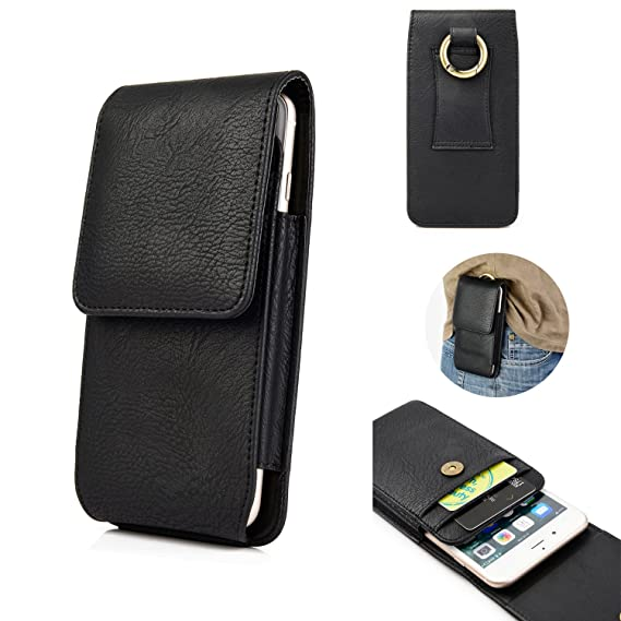 new arrival d3a1f 6e475 iPhone X Belt Case,kiwitatá Vertical Premium Leather Carrying Pouch Holster  Belt Loop Case with Round Metal Carabiner and Card Slots for iPhone 8 7 6  ...