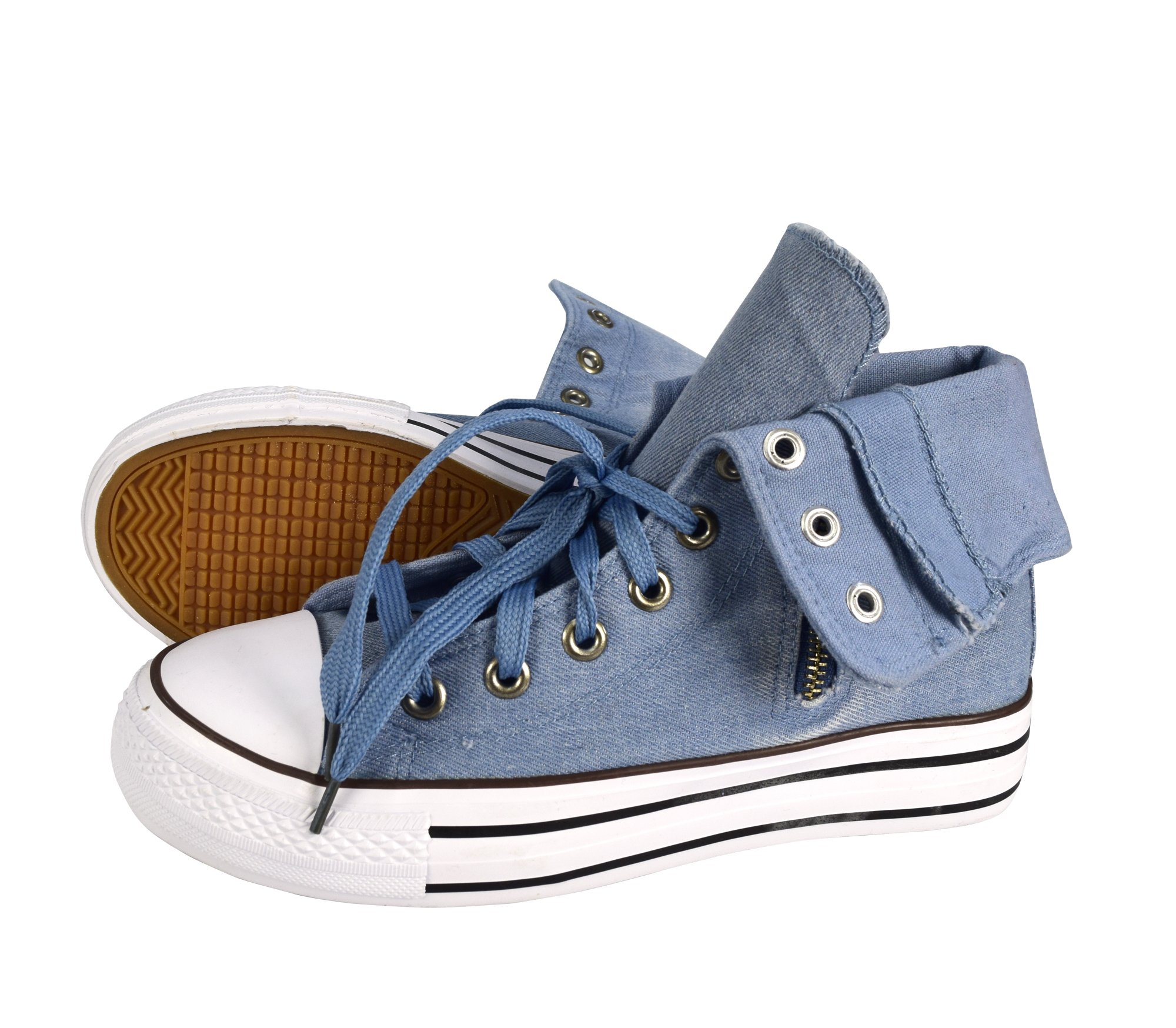 Peach Couture Taylor Fold Over Side Zipper Canvas High Top Sneaker Shoes Light Blue, 10 by Peach Couture (Image #2)
