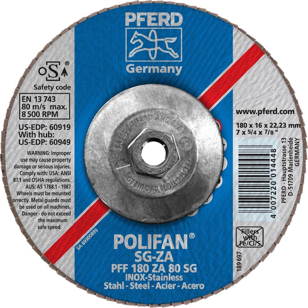 80 Grit 7 Diameter PFERD Inc. 7 Diameter 5//8-11 Thread 8600 RPM Zirconia Alumina//Aluminum Oxide PFERD 60949 Polifan PFF Type 27 Flat Flap Disc