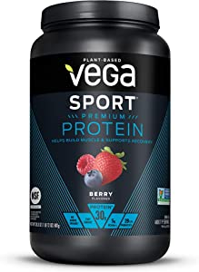 Vega Sport Premium Protein, Berry (19 Servings, 28.3 Ounce) - Plant-Based Vegan Protein Powder, BCAAs, Amino Acid, Tart Cherry, Non Whey, Keto-Friendly, Gluten Free, Non GMO (Packaging May Vary)