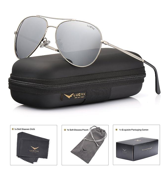 LUENX Hombre Gafas de sol Aviador polarizado con estuche - UV 400 No Espejo de protección myagF