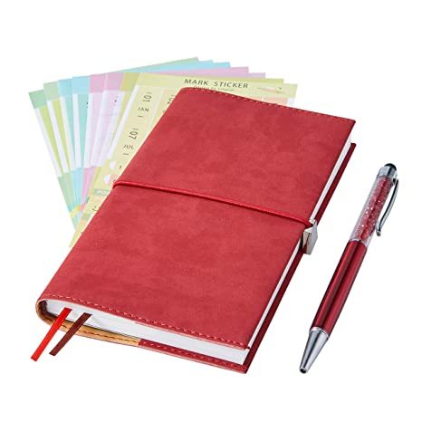 2019 Monthly Planner with Index Sticks Ballpoint Pen, Agenda Book to Achieve Your Goals Pocket Calendar 2019-2020 for Better Working Efficiency (red ...