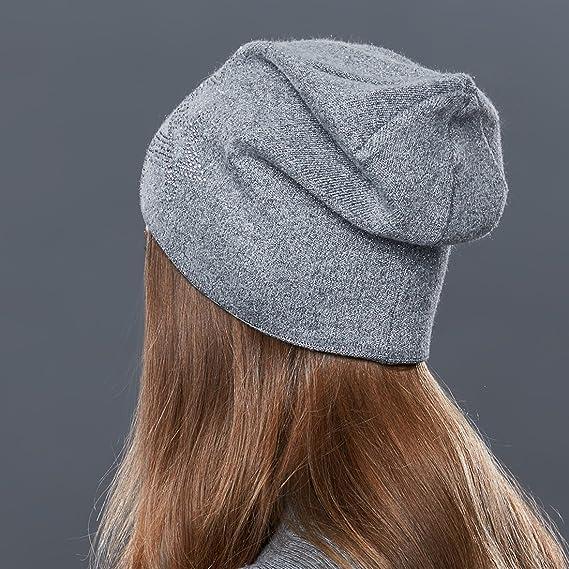 fff0a706e62 URSFUR Bonnet Jersey Beanie Strass Femme Laine Chapeau Bonnet Tendance  Tricot Fille Hiver gris  Amazon.fr  Vêtements et accessoires
