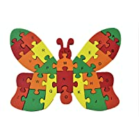 lakshya Wooden Butterfly Shaped 26 Letter Alphabet Learning Block Puzzle for Nursery Kids (A-Z) (Butterfly)