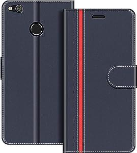 COODIO Funda Huawei P8 Lite 2017 con Tapa, Funda Movil Huawei P8 Lite 2017, Funda Libro Huawei P8 Lite 2017 Carcasa Magnético Funda para Huawei P8 Lite 2017, Azul Oscuro/Rojo