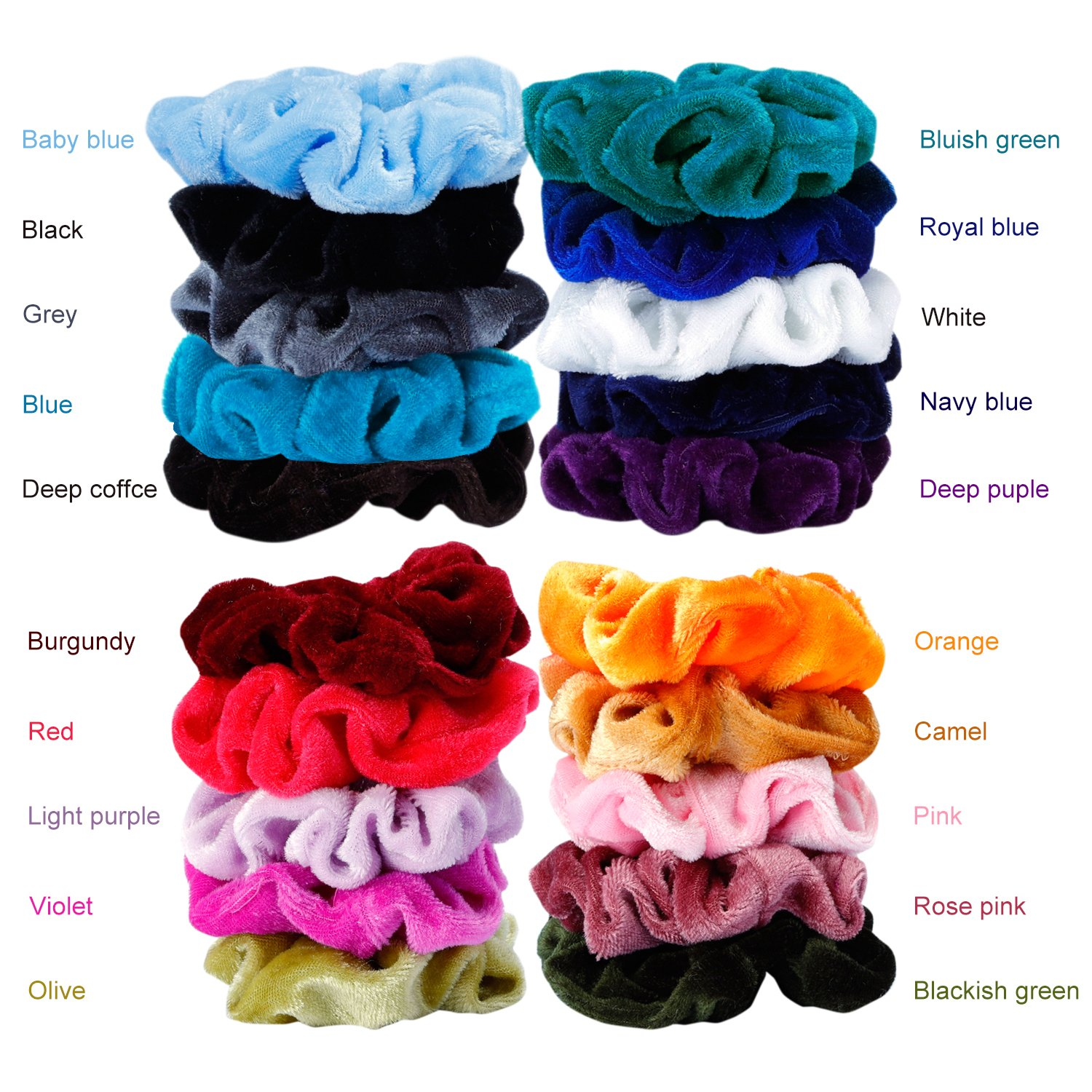 Mandydov 20 Pcs Hair Scrunchies Velvet Elastic Hair Bands Scrunchy Hair Ties Ropes Scrunchie for Women or Girls Hair Accessories - 20 Assorted Colors Scrunchies. by Mandydov (Image #3)