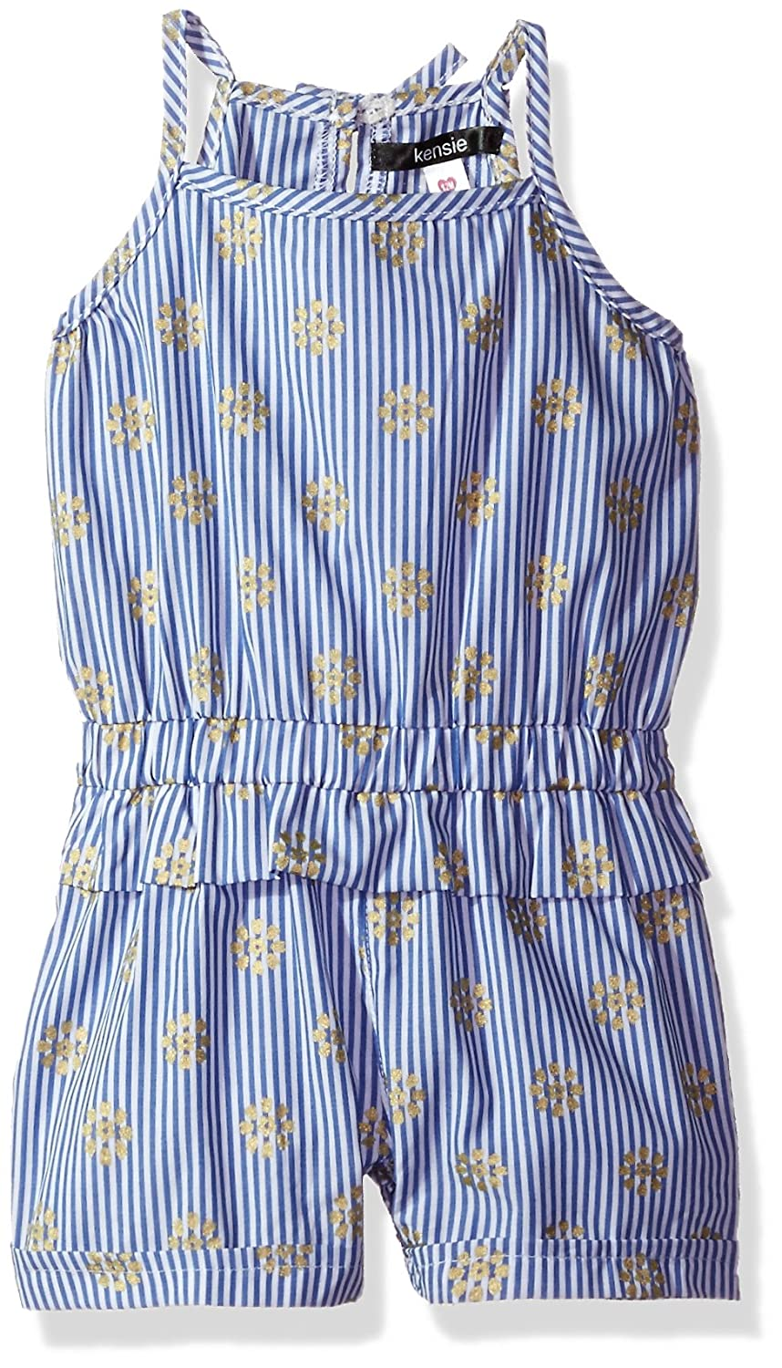611ce4d99001 Amazon.com  kensie Baby Girls  Foil Flowers and Stripes Poplin Romper   Clothing