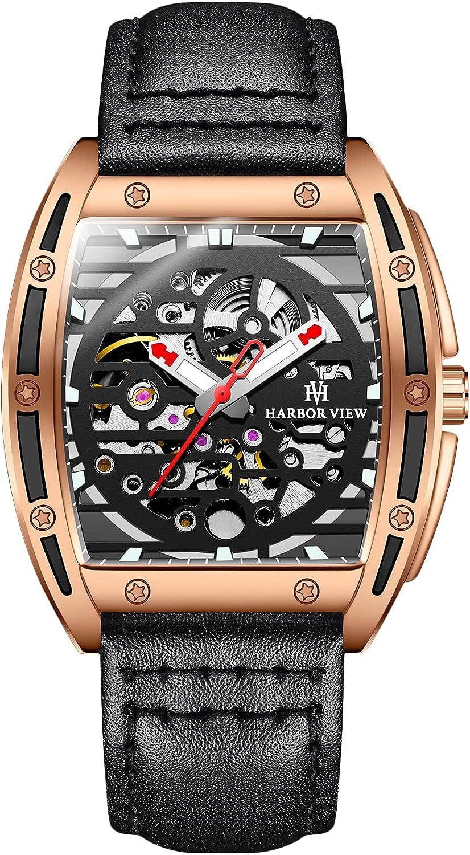 RORIOS Hombre Reloj Automáticos Mecánicos Relojes con Cuero Impermeables Relojes de Pulsera Moda Luminoso Reloj para Hombre