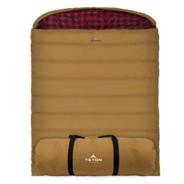 TETON Sports Mammoth Queen Size Sleeping Bag; Warm and Comfortable; Double Sleeping Bag Great for Family Camping; Compression Sack Included