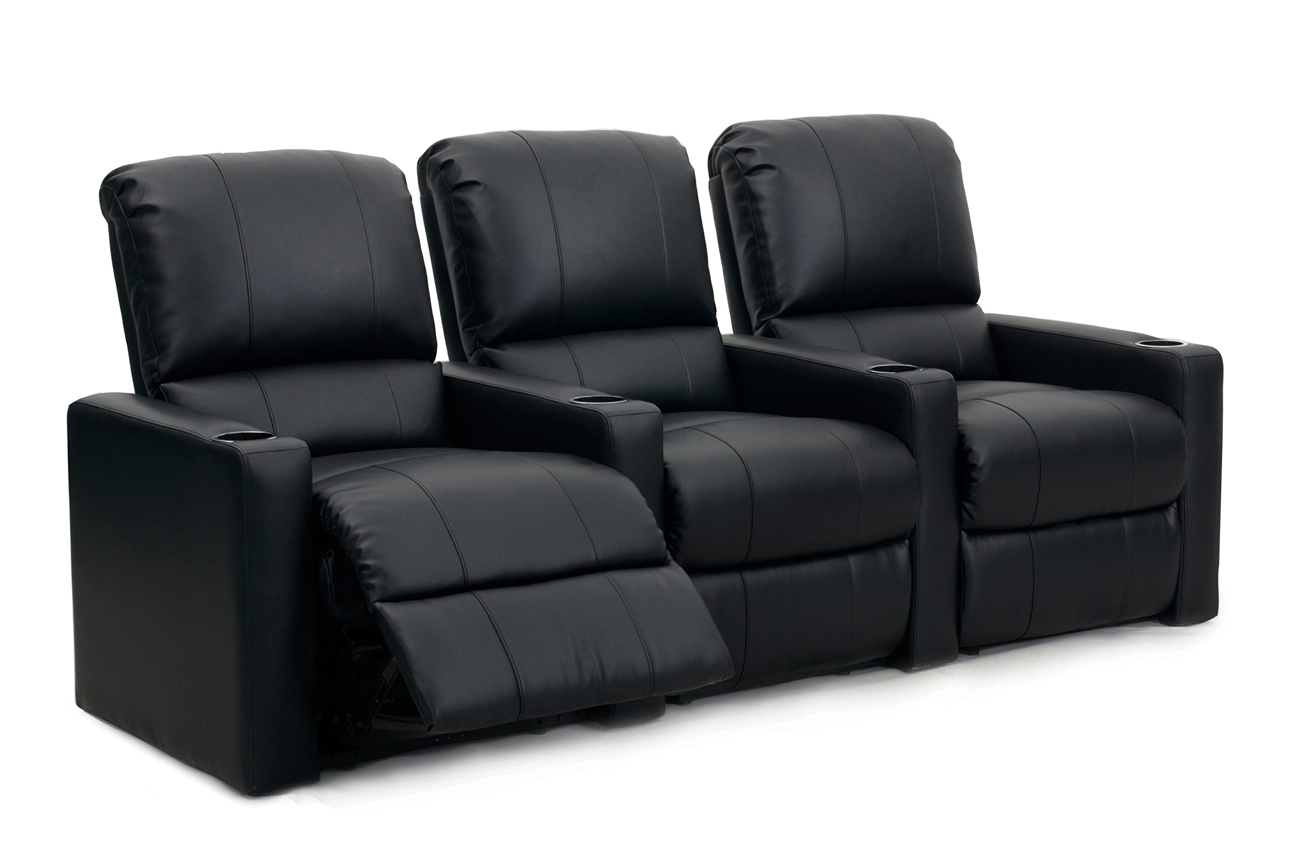 Octane Seating Octane Charger XS300 Leather Home Theater Recliner Set (Row of 3), Black by Octane Seating