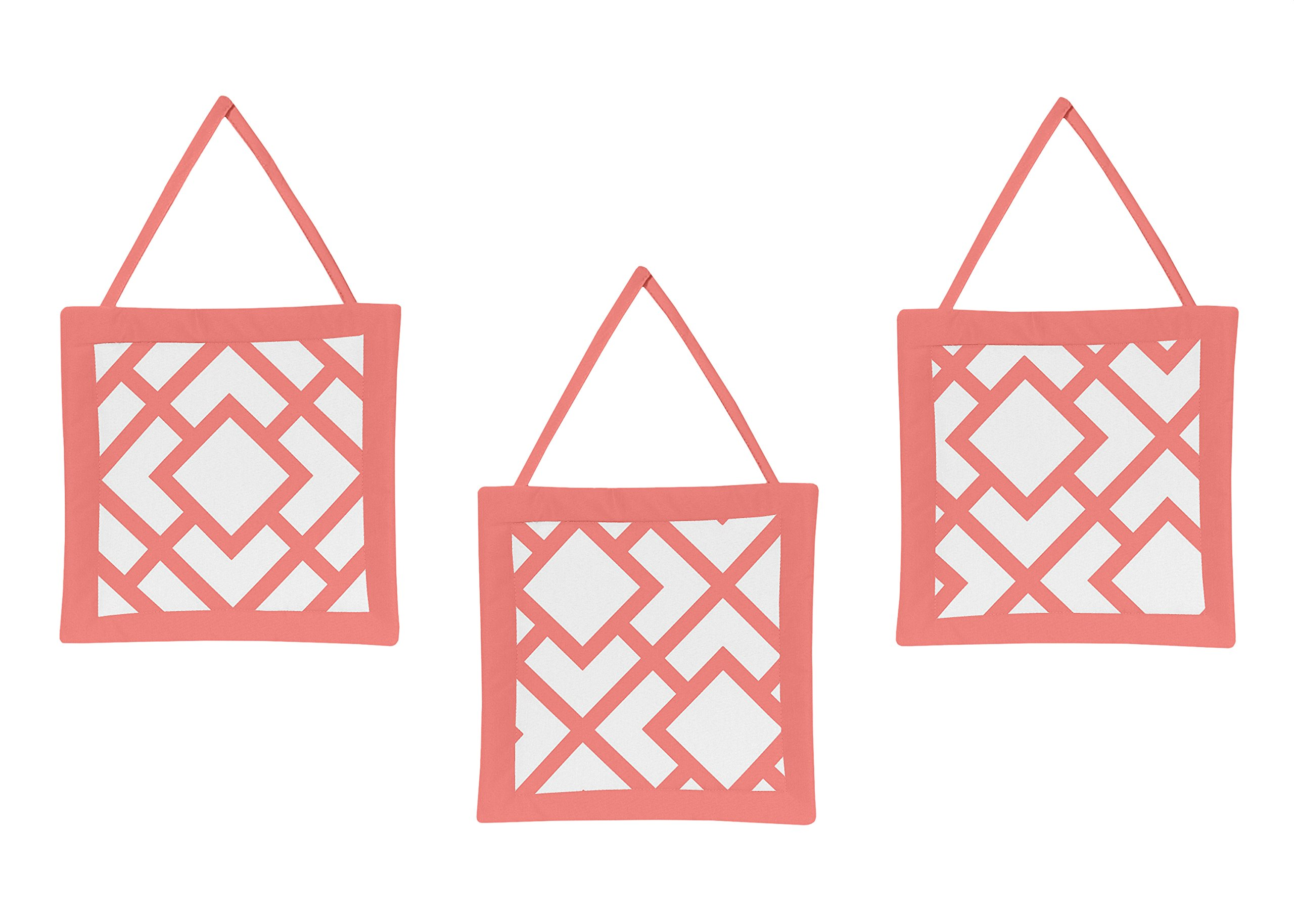 Sweet Jojo Designs Modern White and Coral Diamond Geometric Girls Wall Hanging Accessories