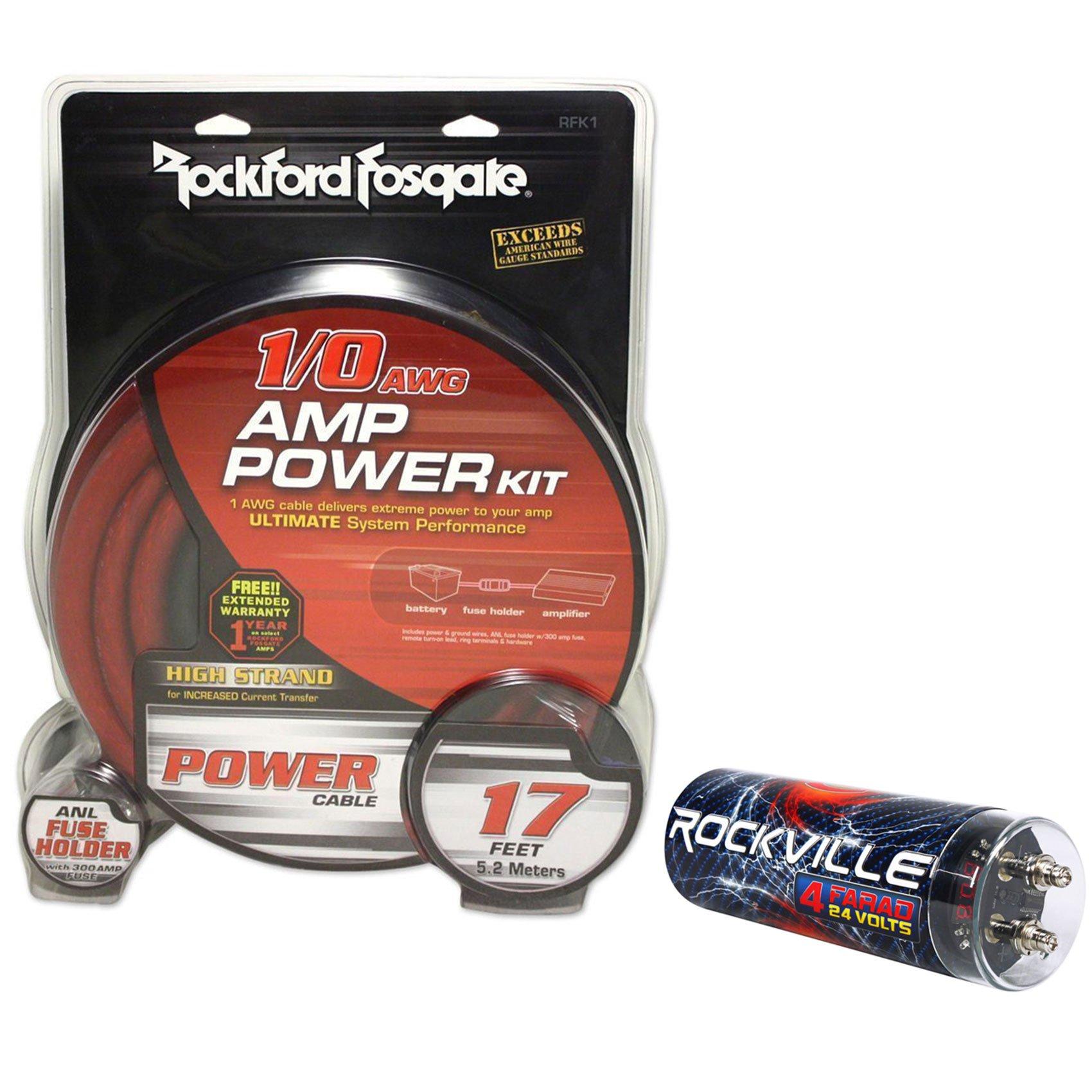 Rockford Fosgate RFK1 1/0 Gauge 100% OFC Copper Amplifier Kit+4 Farad Capacitor