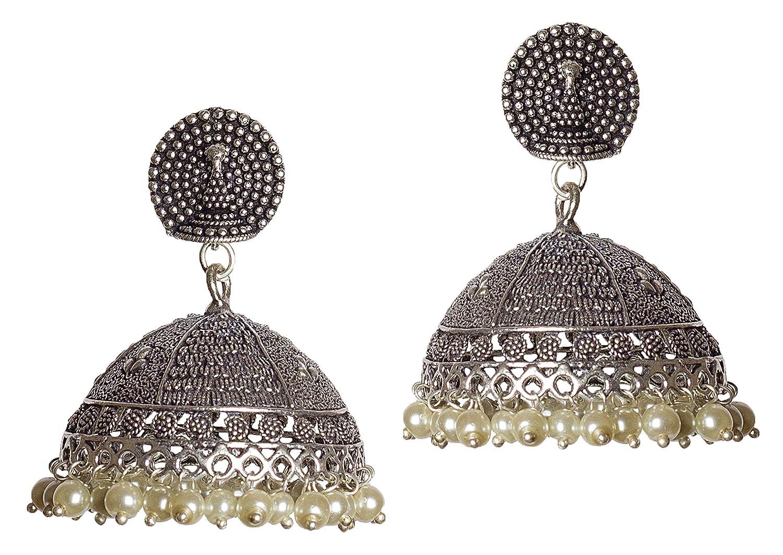 DESI HAWKER Silver Oxidized Earring Bali Jhumki Jhumka Jewelry Bollywood Drop Dangle Big Chandelier Peacock NI-24