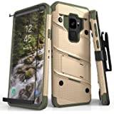 Zizo Bolt Series Compatible with Samsung Galaxy S9 Case Military Grade Drop Tested with Tempered Glass Screen Protector Holster Desert TAN CAMO Green