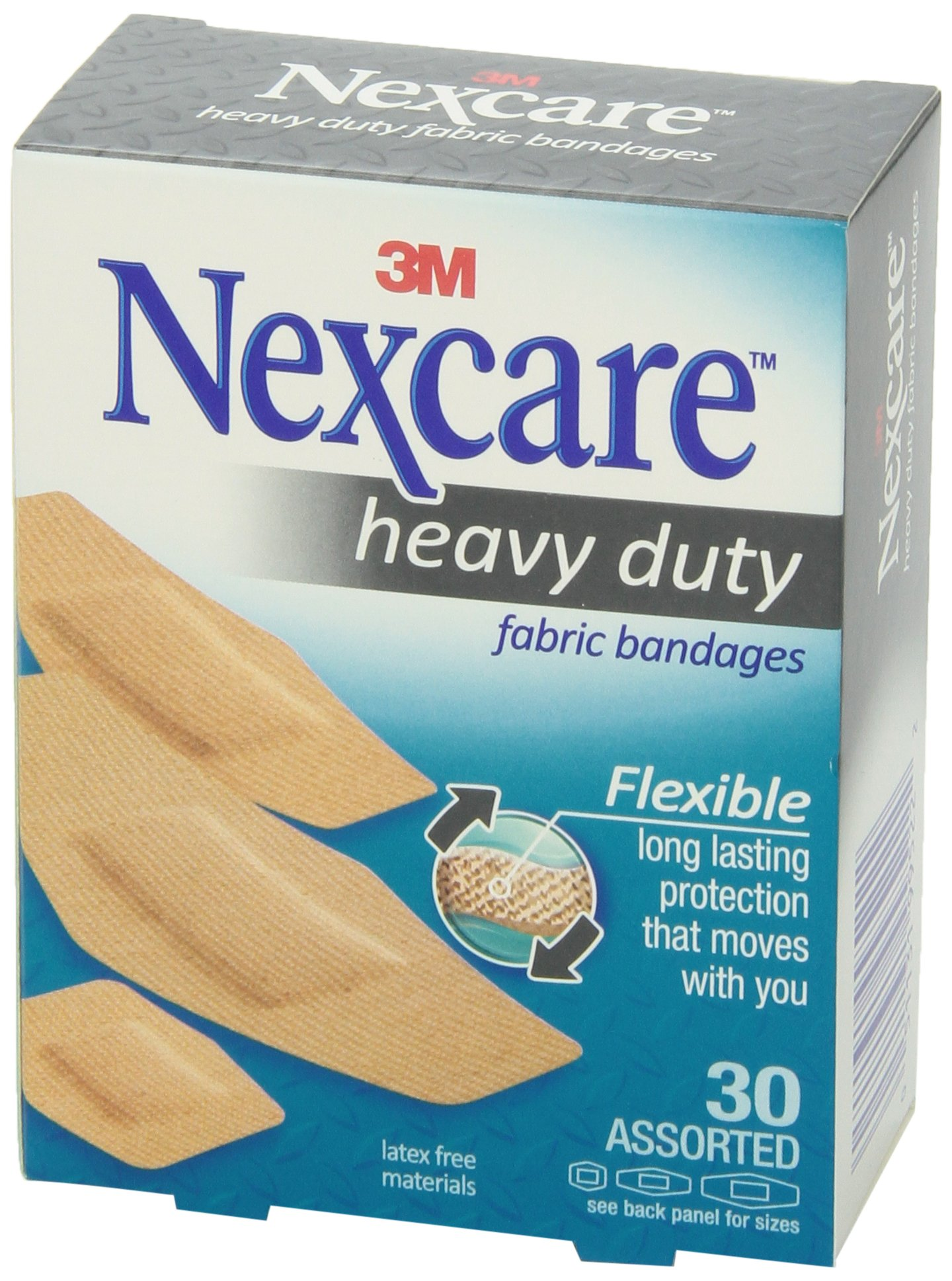 Nexcare Heavy Duty Fabric Bandages, Conforms to Fingers, Elbows, and Knees, For Extreme Sports and Yard Work, Assorted Sizes, 30 Bandages (Pack Of 4)