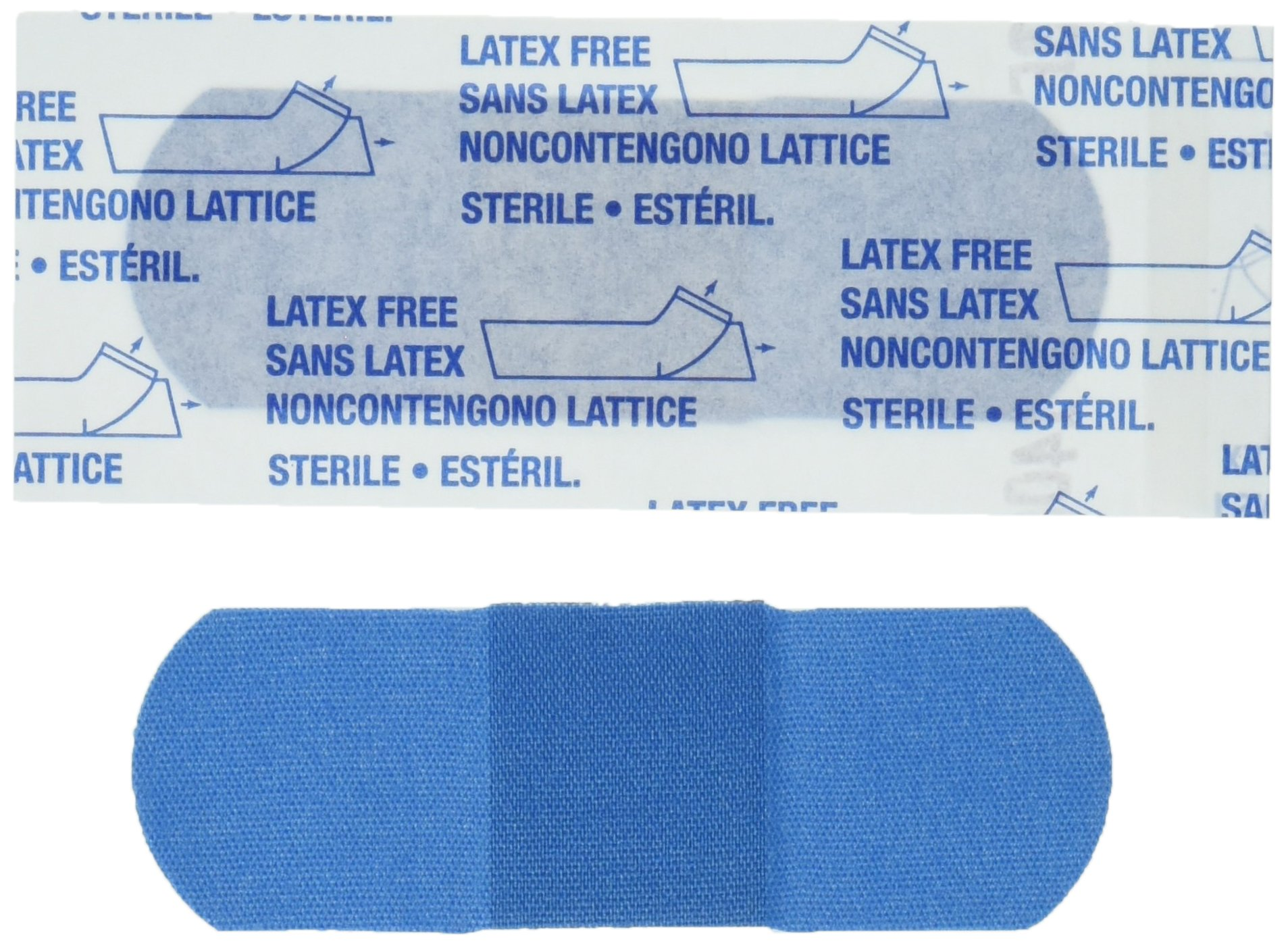 American White Cross 1631025 Blue Metal Detectable Adhesive Strips, Sterile, Lightweight 1'' x 3'' Bulk, 130 per Case, 10 Tray per Case (Pack of 1300)