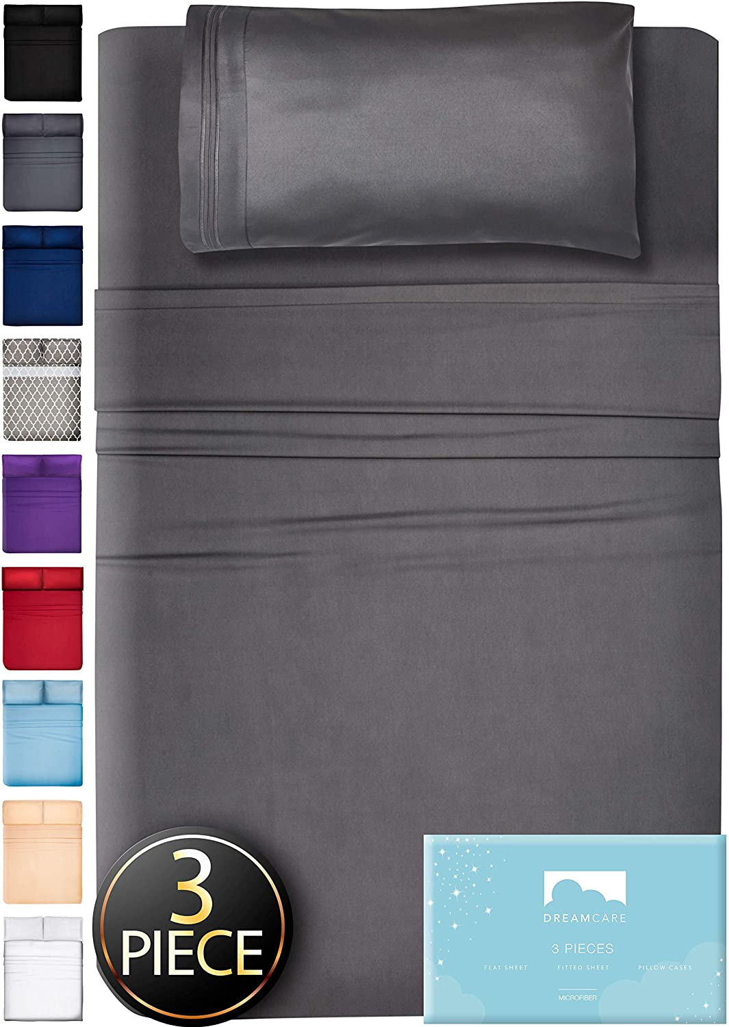 DreamCare Twin XL Sheets XL Twin Sheet Set Twin XL Fitted Sheet 3 Piece Extra Long Twin Sheets XL Twin Fitted Sheet Twin Extra Long Sheet Set Twin XL Bedding Twin XL Fitted Sheets XL Twin Sheets Gray
