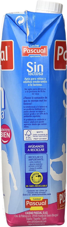 Leche Pascual - Sin Lactosa Desnatada 1000 ml - Pack de 6 (Total 6000 ml)