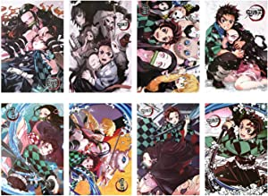 Demon Slayer Posters Kimetsu No Yaiba Art Prints, Great Home Wall Decor, Embossing Poster, 11.5x16.5 Inches, Set of 8 PCS