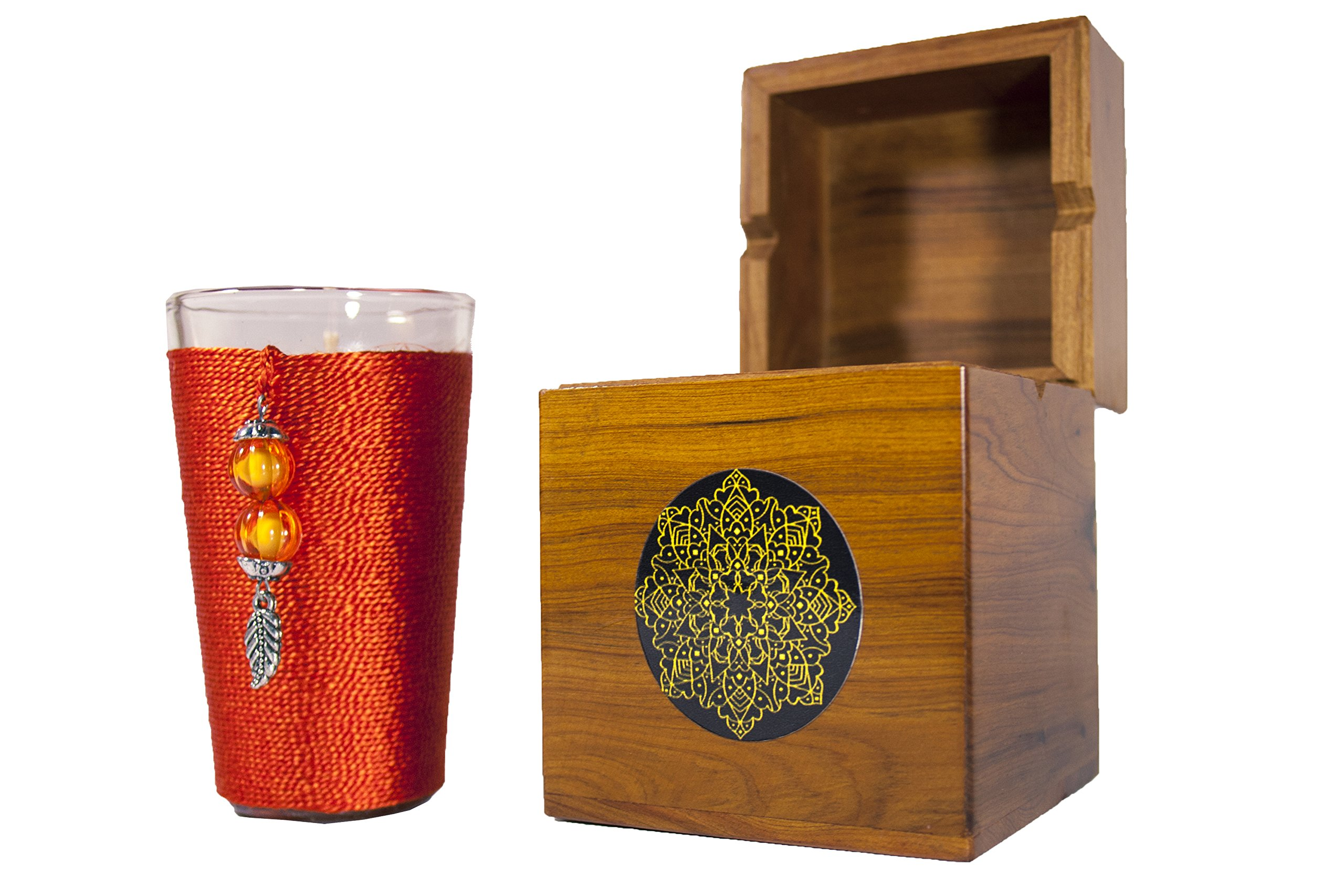 Orange Blossom Silk Scented Jar Candles -Orange- in a THUYA wood moroccan handcrafted Box (Orange)
