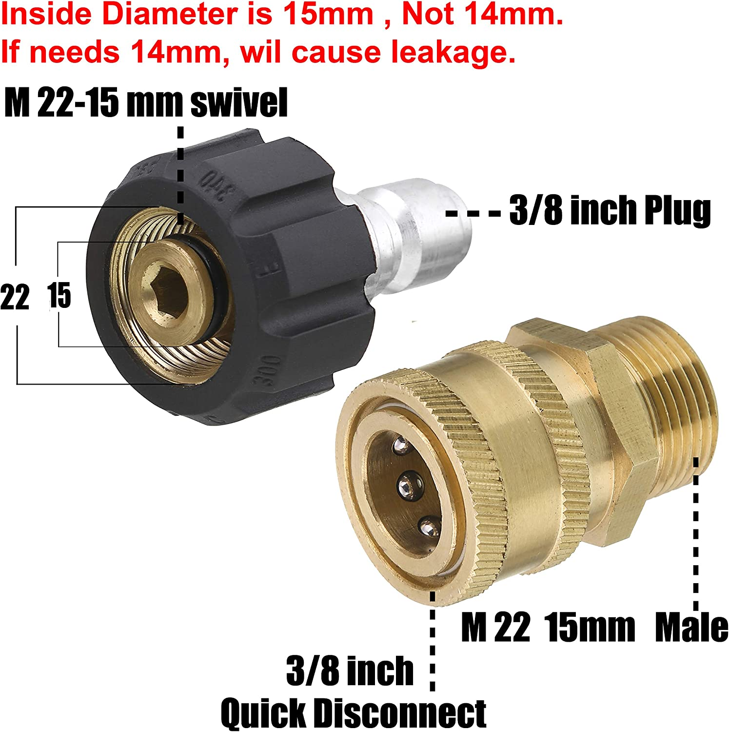 """3Pcs 3//8/"""" Quick Connector to 15mm Male Adapter Set for Pressure Washer"""