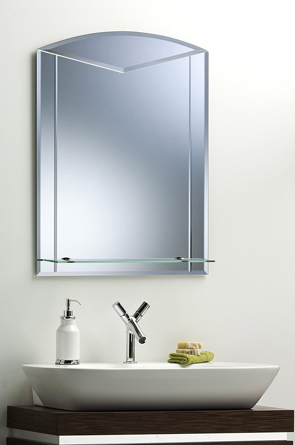 Neue Design Unique Arch Bathroom Mirror With Shelf & Etched Detail ...
