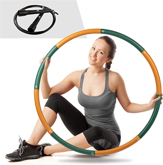 Improved Stainless Steel Exercise Hoop 8 Sections Detachable Design with Thicker Foam 2.7 lb for Slimming Aioweika Exercise Hoop for Adults