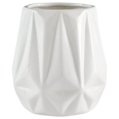 Rivet Modern Angled Stoneware Vase Decor, 5.25 Inch Height, White