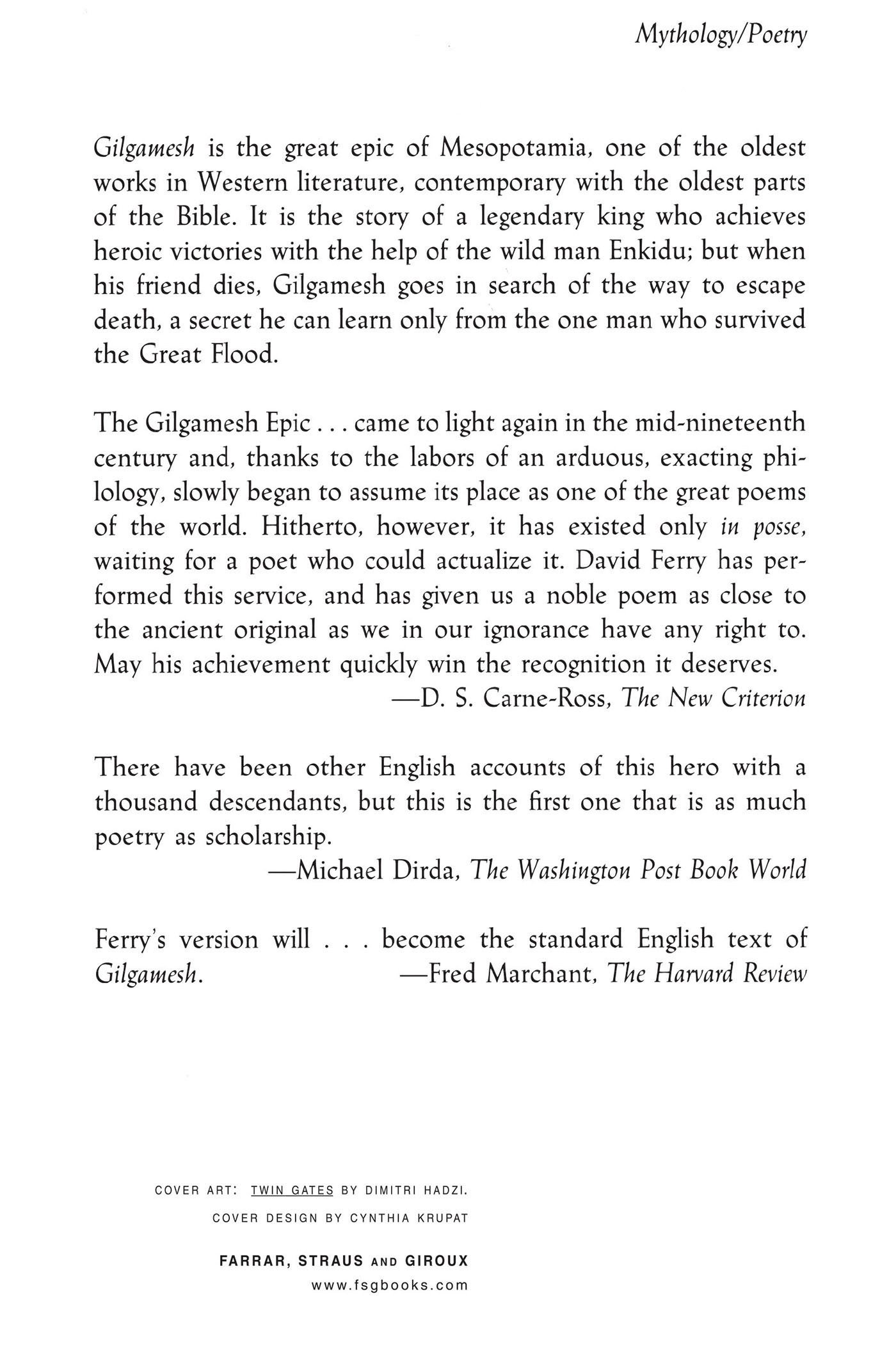 Gilgamesh a new rendering in english verse david ferry gilgamesh a new rendering in english verse david ferry 9780374523831 amazon books fandeluxe Gallery