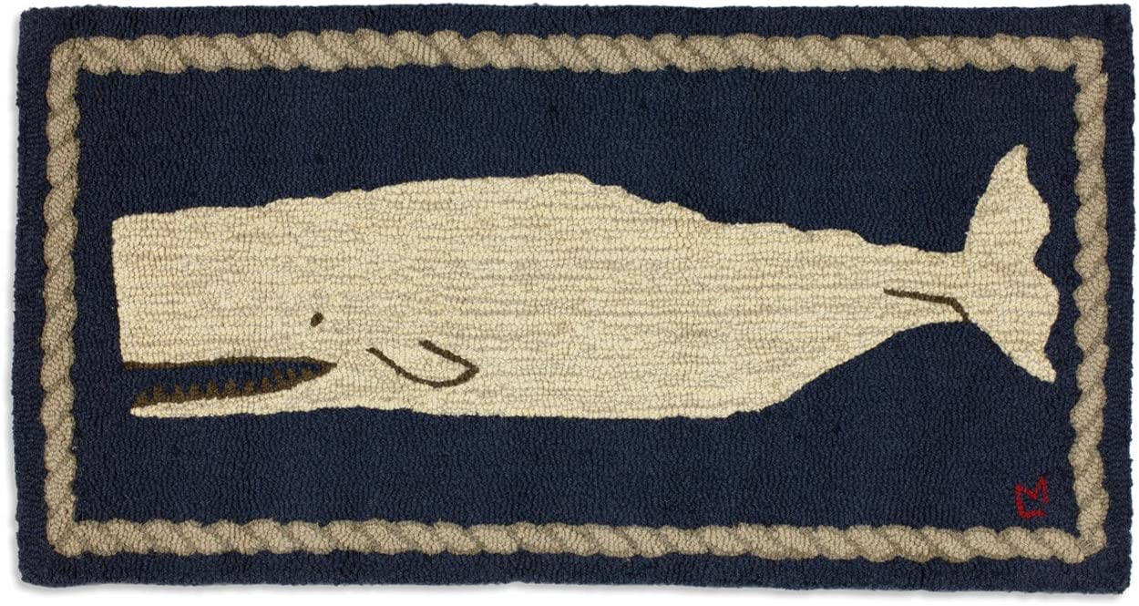 Chandler 4 Corners Artist-Designed Moby Dick Whale Hand-Hooked Wool Accent Rug 2 x 4