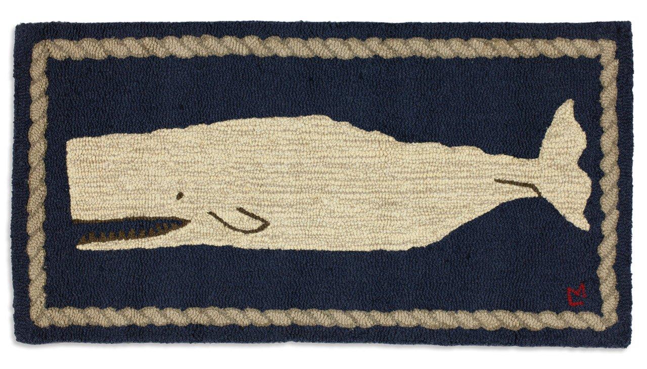 Chandler 4 Corners Beautiful Handmade Decorative Rug Hand Hooked White Whale on Blue Rug 2 x4 – 100 Wool