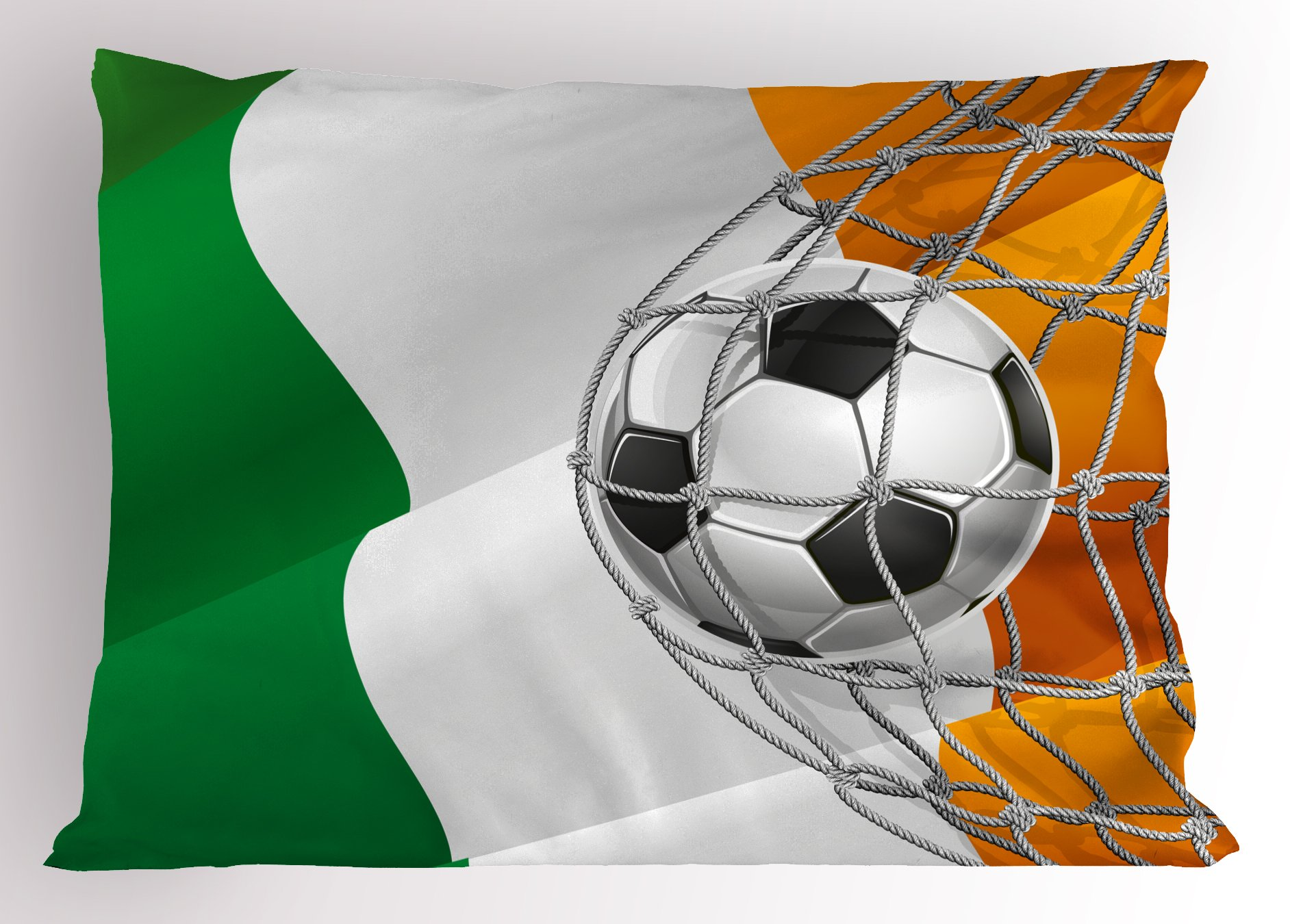 Ambesonne Irish Pillow Sham, Sports Theme Soccer Ball in a Net Game Goal with Ireland National Flag Victory Win, Decorative Standard King Size Printed Pillowcase, 36 X 20 inches, Multicolor