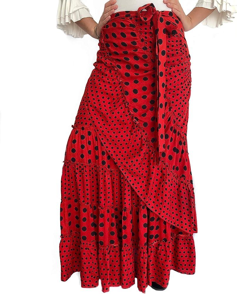 Falda Flamenca Media Luna de Lunares para Baile: Amazon.es: Ropa y ...
