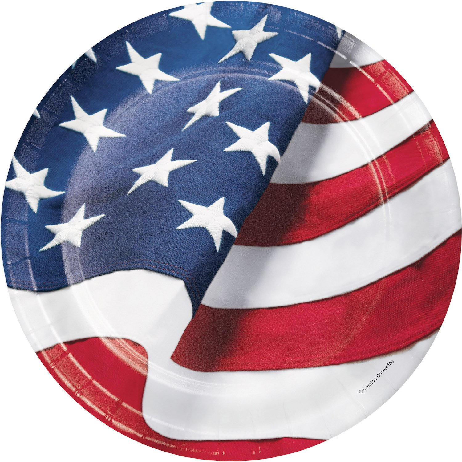 Patriotic Vintage Freedoms Flag Party Supplies Partyware Kit 8 16 oz Plastic Cups. Includes 8 Luncheon Plates 16 Luncheon Napkins 8 Dinner Plates