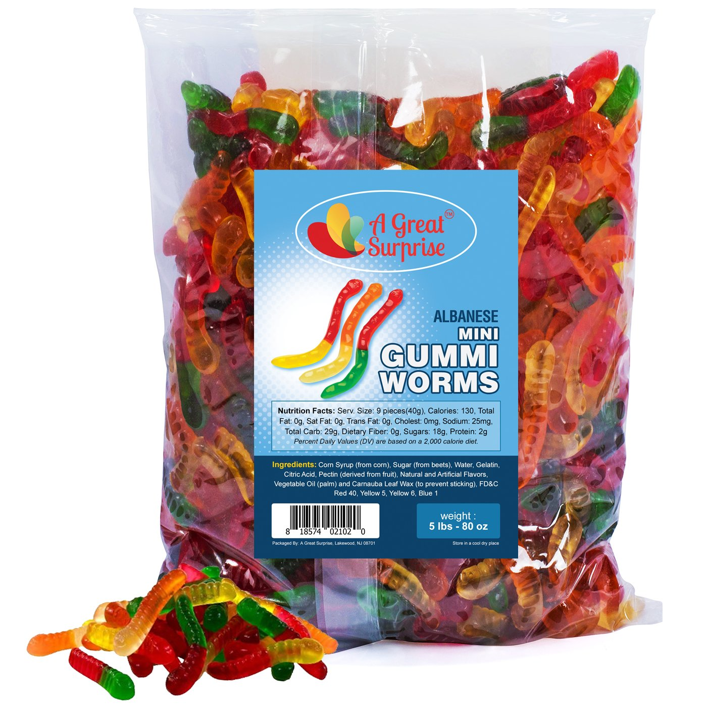 Gummy Worms Bulk - Mini Gummi Worms , Bulk Candy Gummies 5 LB