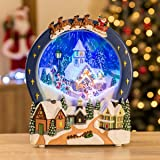 Snowing Village Christmas Scene Musical LED Snow Globe Ornament, Battery-Operated Decoration, Plays 8 Songs, H27cm