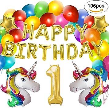 Decoración Fiesta de Cumpleaños, Globos Unicornio Helio Gigante & colgante de Globos Feliz Cumpleaños dorado,Globo Aluminio Estrella y 100 Globos de ...