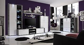 Wohnwand Mit Highboard Esche Grau Weiss Amazonde Küche Haushalt