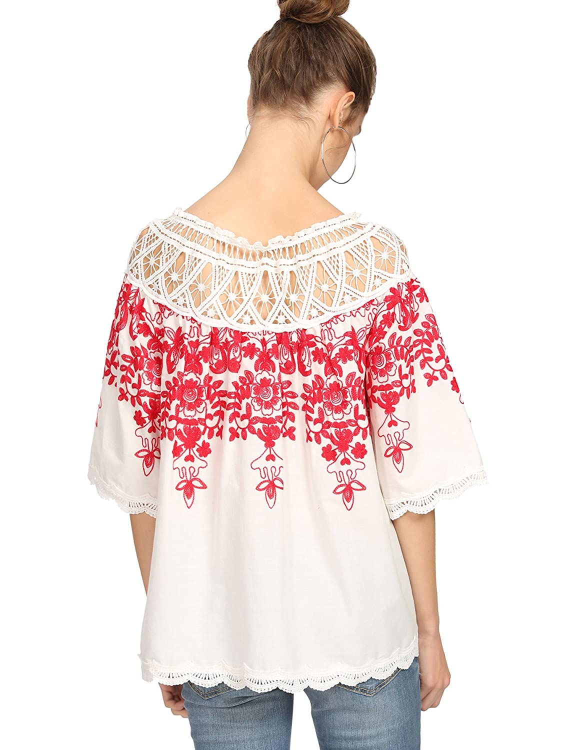 Romwe Womens Cold Shoulder Floral Embroidered Lace Scalloped Hem Fiction Blouse With Obi Off White Top At Amazon Clothing Store