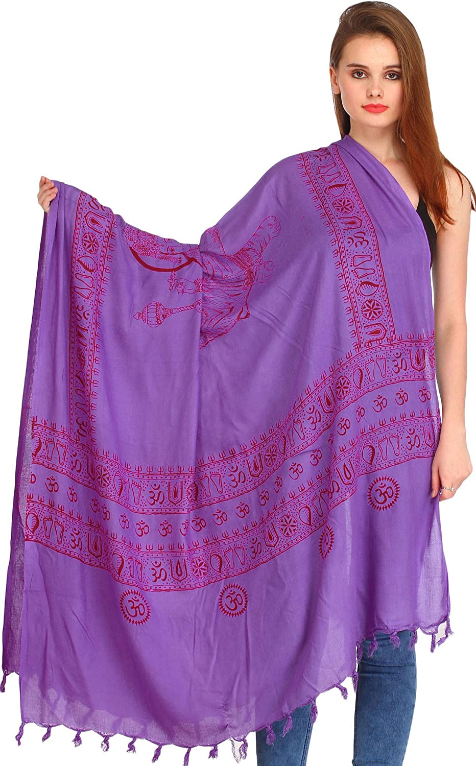 Exotic India Maa Durga Prayer Shawl - Purple SRB40