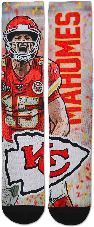 For Bare Feet Kansas City Chiefs Youth Size 13 4-8 YRS 1-5 Kids Crew Socks - Patrick Mahomes Super Bowl MVP