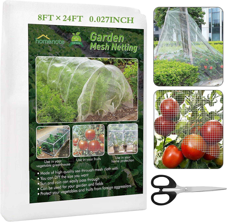 HOMENOTE Garden Netting, 8x24 Ft Plant Netting Fine Mesh, Premium Garden Net Plant Cover, Netting for Plants Vegetable Flower Fruits Trees Crops Greenhouse