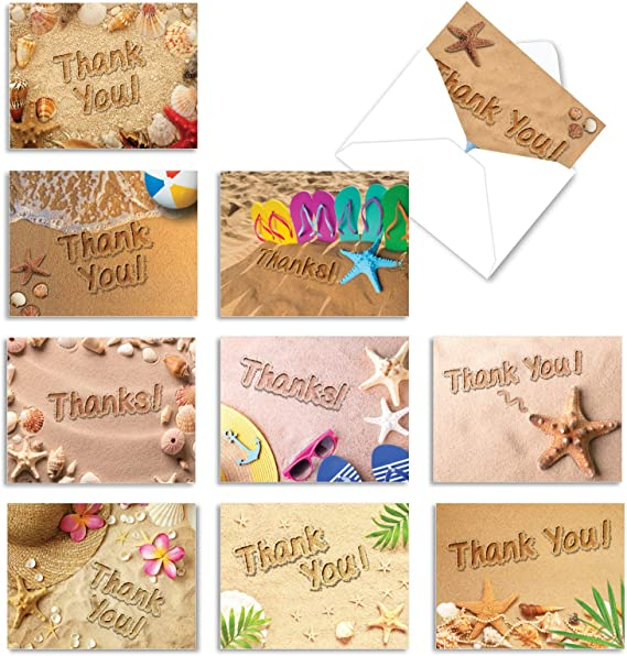 Boxed Beach Side Enjoyment Thank You Note Cards 18 Count 14066