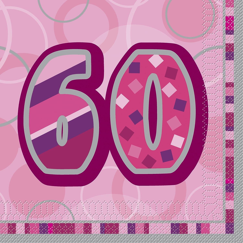 Unique Party Paquete de 16 servilletas de papel de 60 cumpleaños Color rosa Edad (28443