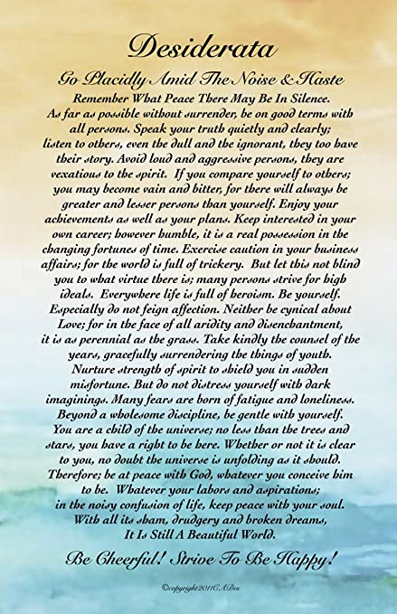 picture regarding Printable Desiderata titled Motivational Artwork, 11 X 17 Poster Desiderata Poem By means of Max Ehrmann Summary Watercolor Ocean Sunset 11x17 Artwork Card
