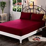 "Dream Care™ Waterproof Dustproof Terry Cotton Mattress Protector for Single Bed - 78""x36"", Maroon"